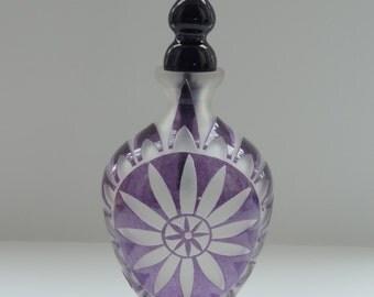 Handblown Purple Sandblasted Glass Mandala Vase