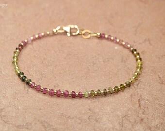 Watermelon Tourmaline Bracelet, Gold Filled Beads, Watermelon Tourmaline Jewelry, Shaded, Ombre, October Birthstone