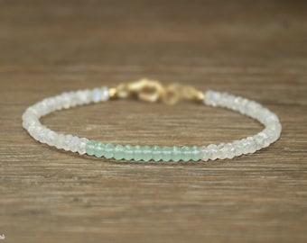 Aqua Chalcedony and Moonstone Bracelet, Moonstone Jewelry, Beaded, Layering Bracelet, Beads, Blue Flash