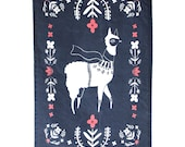 Folk Llama Tea Towel, Cotton/Linen Tea Towel