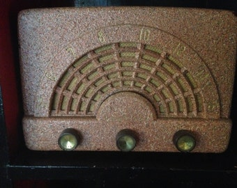 Tube Radio Pink Pebbled Console Mid Century Modern MCM FM/AM Mad Men 1950s