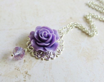 Purple Bridesmaid Necklace, Flower Girl Necklace, Purple Wedding Jewelry, Flower Jewelry, Bridal Party Gift