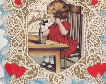 Digital Download, Vintage Valentine, Download Instantly, Printable, Red Hearts, Telephone, Young Girl, Lace Die Cut Embossed, Valentine Card