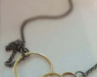 Gold Bronze Circle Necklace with Gunmetal Chain