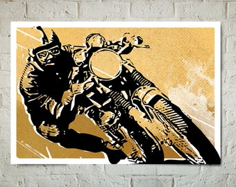 Motorcycle Art Print, Cafe Racer art, Poster size Motorcycle Decor, Cafe Racer Motorcycle art, Man Cave Decor, Motorcycle Gift