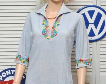 Vintage Womens Hippie Blouse/Top 60s 70s Shirt/Embroidery Denim Cotton/Alice Stuart/poly cotton/small medium/Theater Costume/blue multi