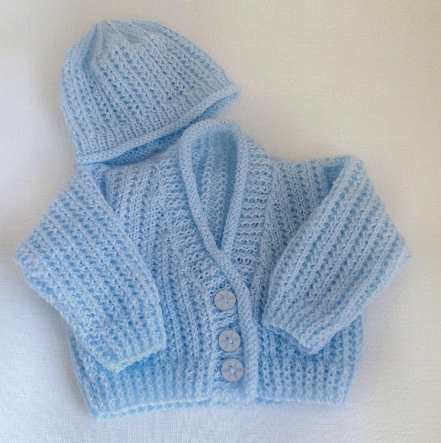 Baby Knitted Sweater Set Handmade Boys Cardigan And Hat