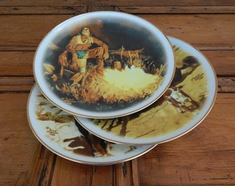 cowboy collector plates  western art  set of 3 painted plates  rustic home decor