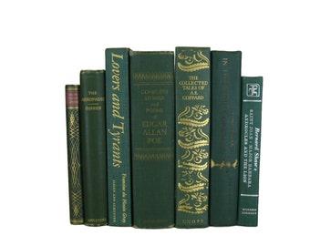 Green Books , Vintage Books , Books , Decorative Books ,  Wedding Decor ,  Photo Prop , Instant Library , Shabby Chic Wedding