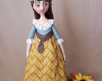 August: cloth and clay art doll