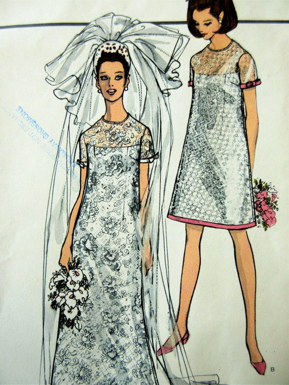 Vintage Vogue 1852 Sewing Pattern 1960s Wedding Dress