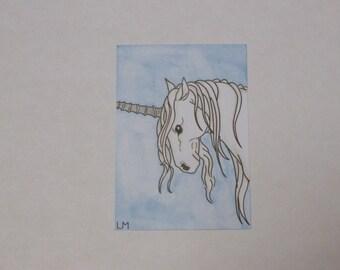 SALE ACEO Unicorn Original Promarker Drawing Art Card