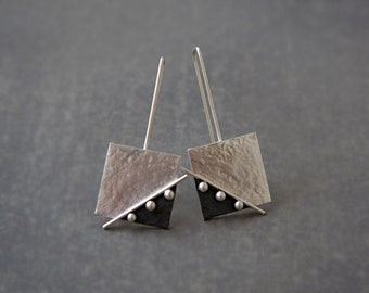 Sterling silver square earrings. Silver drop earrings. Silver jewelry. Oxidized earrings. Handmade. MADE TO ORDER.