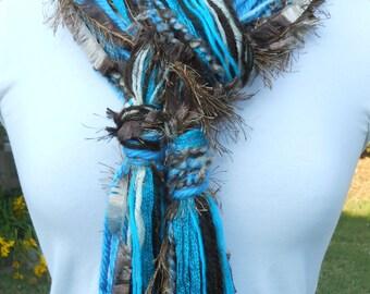 TURQUOISE SHORES BOA fuzzy skinny scarf