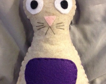 Plush Cat Stuffed Animal. Hand Sewn, Felt.