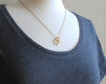 Glyph - Gold or Silver Triangle Square Geometric Necklace with Tiny Geo Pendants; Math Jewelry (Collier Géométrique) by InfinEight