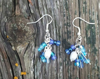 Deep Blue with Freshwater Pearl Cluster Earrings
