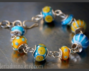Lampwork glass bracelet -  Blue and yellow glass - lampwork beads - colorful bracelet - lampwork beads - OOAK