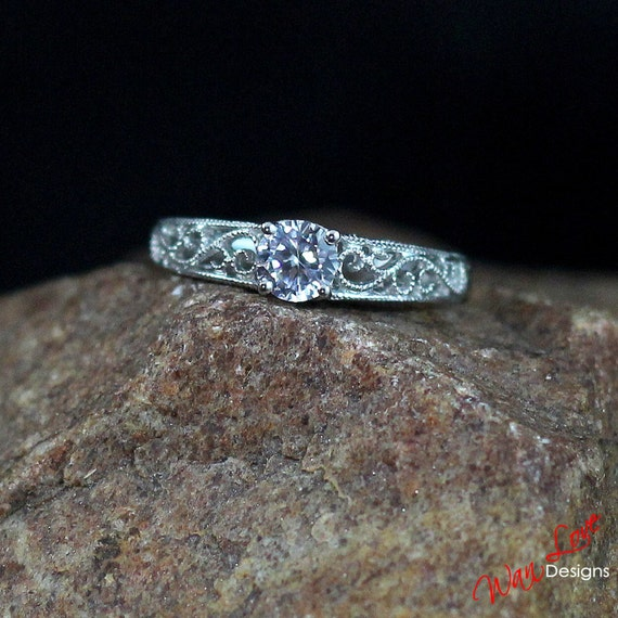 Natural White Sapphire Engagement Ring Filigree Milgrain