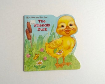 Vintage Golden Shape Book / The Friendly Duckling / 1989 / Gina Ingoglia / Childrens / Kids / Spring / Easter