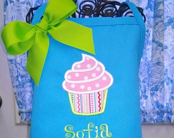 Cupcake Apron for Child Fabric Applique Personalized