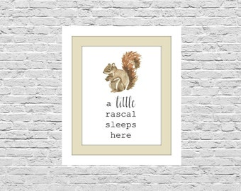 Little Rascal Print, Boys Room Art, Wall Decor Printable, Squirrel Nursery Art, Digital Picture, 8x10 Instant Download, Baby Shower Gift