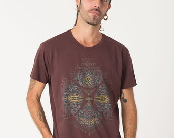 Mens Psychedelic T-shirt, Brown Shirt, Psy Trance, Burning Man, Festival Clothing, Dmt, Trippy Shirt