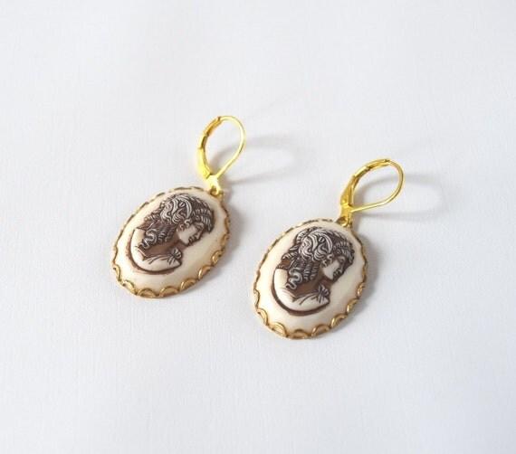 Silhouette Earrings: Cameo Earrings Vintage Cameo Jewelry Silhouette Earrings