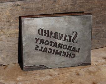 Mid-Century Printer's Block; Standard Laboratory Chemicals, Vintage Industrial Sign