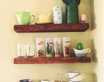 Reclaimed Wood Floating Shelf