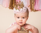 Lace Crown ||Ready to Ship|| Birthday ballerina flower lace crown headband || Sienna || cake smash || custom any age