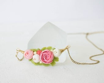 Pink White Rose Ranunculus Pendant Medaliion Necklace Wholesale Handmade Women Gift Accessory Jewelry Birthday Wedding Bridal Christmas Gift