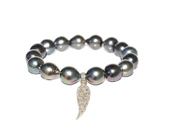 14k Pave Diamond Angel Wing Tahitian Pearl Bracelet
