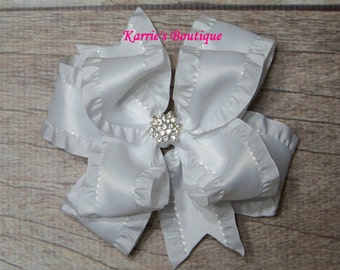 White Double Ruffle Ribbon Bow / Over the Top Hair Bow / Flower Girl / Photo Prop / Pageant / Infant / Baby / Girl / Toddler/ Boutique