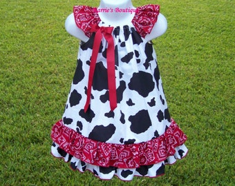 Cowgirl Ruffle Dress / Cow Print & Red Bandana / Western Wear  / Rodeo / Newborn / Infant / Baby / Girl / Toddler / Custom Boutique Clothing