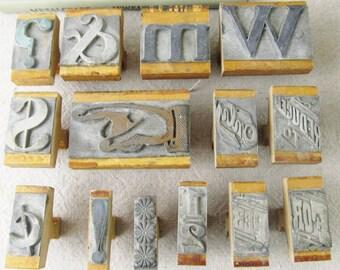vintage alphabet rubber stamp set, vintage letter stamps, vintage number stamps, sign making set, antique mercantile, 79 stamps, circa 1920