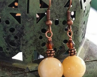 Yellow Jasper and Swarovski earrings