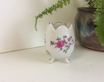 Egg Shaped Footed Vase-Dainty flowers -Pink roses-green leaves-gold trim jagged top- Hand painted Planter-beautiful cottage chic decor