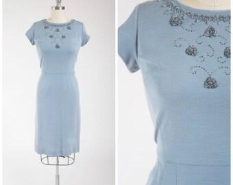 Vintage 50s Dress • Shimmer Shine • Pale Blue Wool 1950s Wiggle Dress with Beaded Neckline Size Large