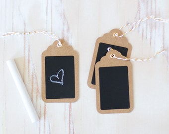 "Kraft Chalkboard Small Gift Tags with Twine - 12 pc - 1.75"" x 3"""