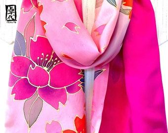 Art Scarf, Fall Fashion Scarf, Pink Silk Scarf, Reversible Handpainted Scarf, Pink and Gold Japanese Cherry Blossom, 14x72 in. Made to order