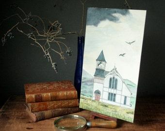 Original watercolor Gothic church