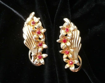 Red Rhinestone Clip On Earrings Flowers Retro LARGE Vintage
