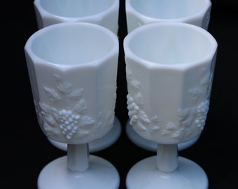 Set of 4, Westmoreland Paneled Grape, Milk Glass, Water Goblets