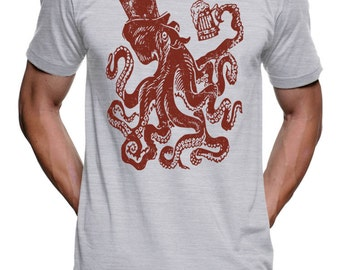 Funny Drunk Octopus T Shirt - Party Time Tees Gift Tshirts For Dads - Beer Drinking Tshirts Mustache Geek Womens Tshirt Tentacles Tshirt