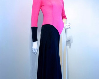 50% OFF Vintage 1970s COLOR BLOCK Poly Jersey Abstract Maxi Dress w Sweeping Hem // Pop Art // Studio 54 // Statuesque Statement Piece