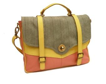Cross body Leather Messenger Bag Salmon, mustard and green , Laptop bag, shoulder bag. For bike riding, office or school
