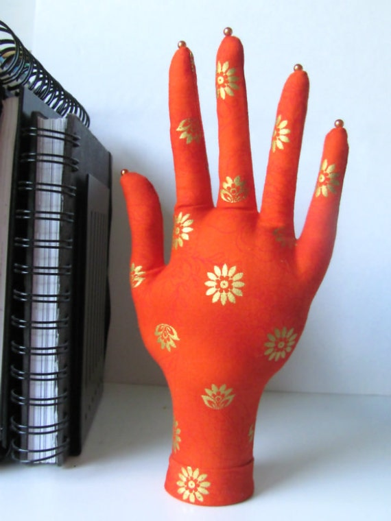 SALE ~ Sizzlin Orange Fabric HAND-Stand Jewelry Display Ready to Ship