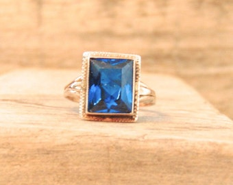 Art Deco Sapphire Glass 14K Yellow Gold Ring, Emerald Cut, 1920s,