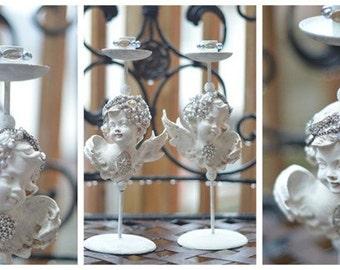 French Shabby Garden Cherubs, Angel Candle Holders, Bridal Centre Piece, Farmhouse Cherubs